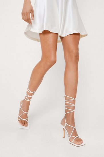 White Strappy Square Toe Heels