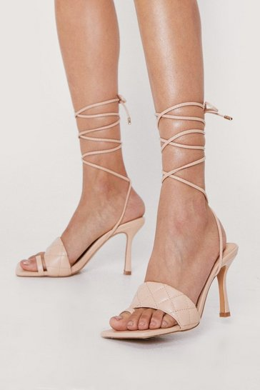 Beige Faux Leather Quilted Toe Loop Strappy Heels