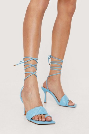 Blue Faux Leather Quilted Toe Loop Strappy Heels