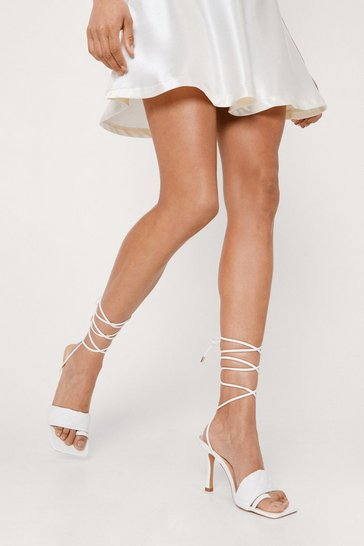 White Faux Leather Quilted Toe Loop Strappy Heels