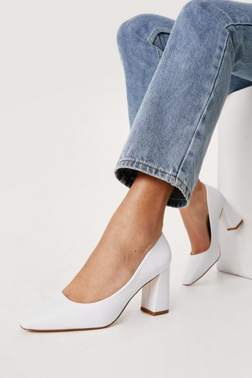 White Faux Leather Block Heel Court Shoes