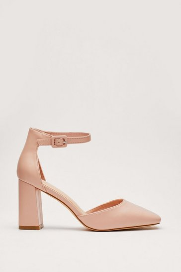 Nude Faux Leather Square Toe Strappy Heels