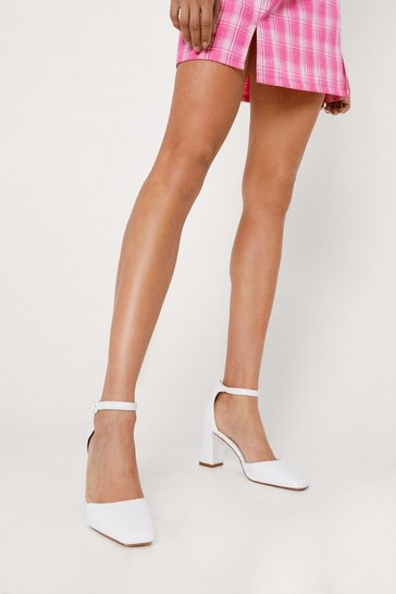 White Faux Leather Square Toe Strappy Heels