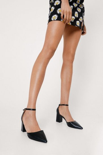 Black Pointed Two Part Block Heels