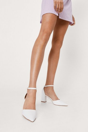 White Pointed Ankle Strap Block Heels