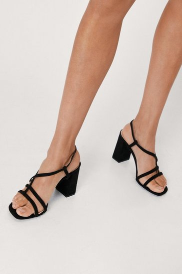 Black Immi Suede Strappy Low Block Heels
