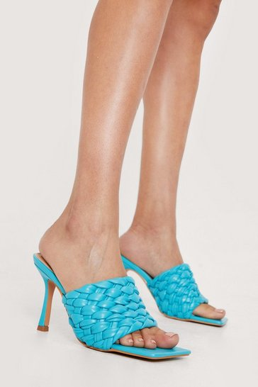 Blue Faux Leather Woven Open Toe Heeled Mules