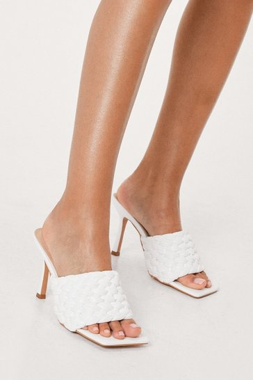 White Faux Leather Woven Open Toe Heeled Mules