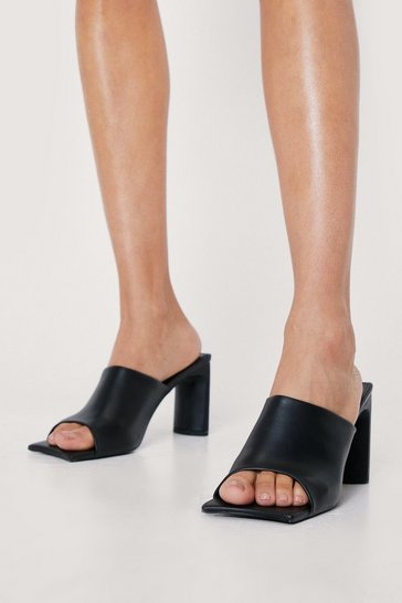 Black Faux Leather Square Toe Heeled Mules