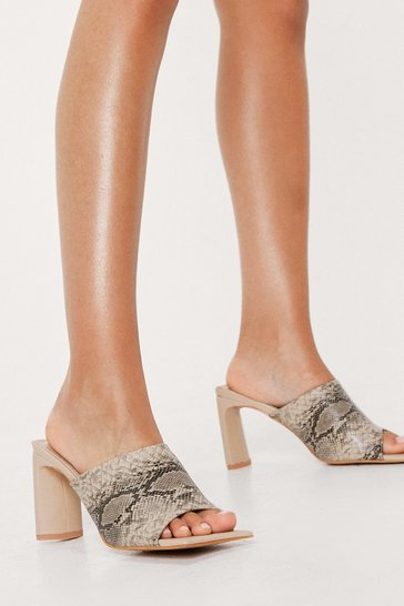 Faux Leather Square Toe Heeled Mules, Snake