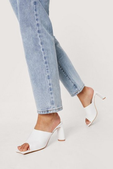 White Faux Leather Square Toe Heeled Mules