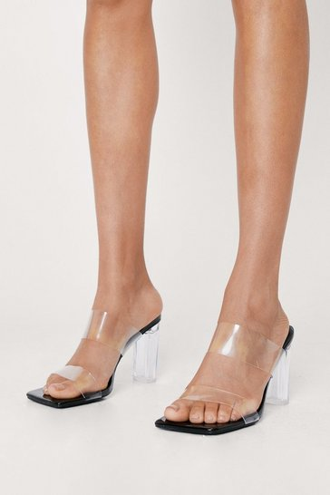 Black Strappy Clear Open Toe Heeled Mules