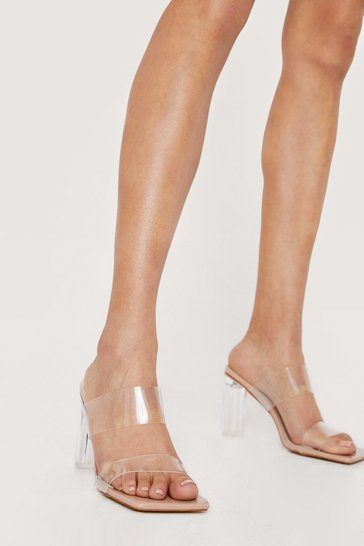 Nude Strappy Clear Open Toe Heeled Mules