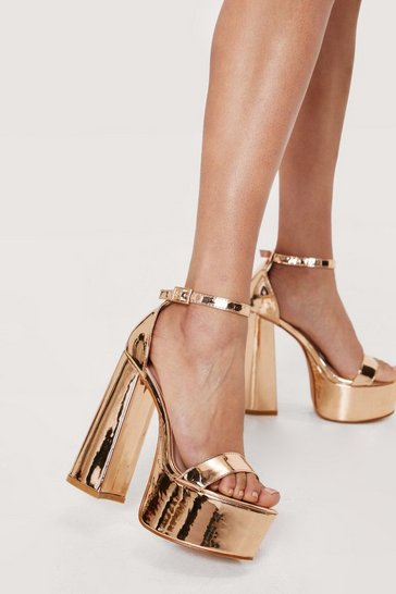Champagne Metallic Open Toe Platform Heeled Sandals