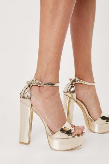 Gold Metallic Faux Leather Platform Sandals