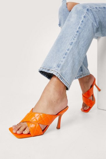 Orange Quilted Crossover Heeled Open Toe Mules