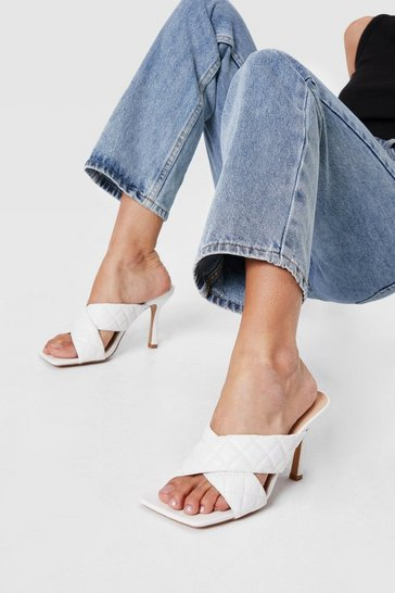 White Quilted Crossover Heeled Open Toe Mules