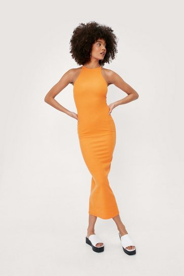 Tangerine Ribbed Racerback Midi Dress