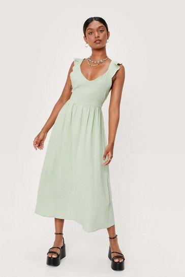 Sage Cross Back Textured Linen Look Midi Dress