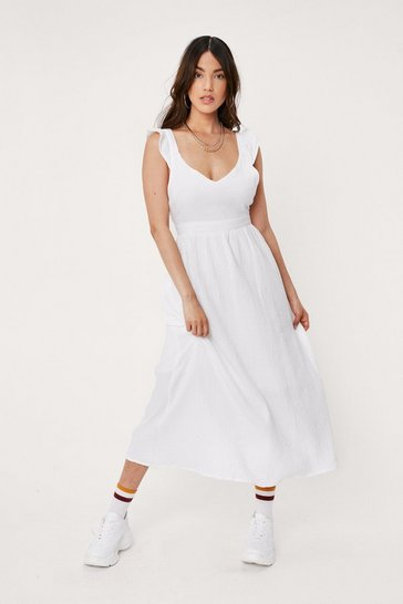 White Cross Back Textured Linen Look Midi Dress