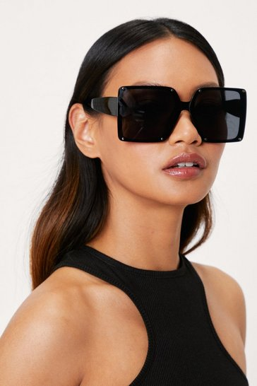 Black Oversized Tinted Square Frame Sunglasses