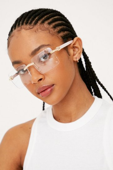 Pink Frameless Retro Oversized Sunglasses