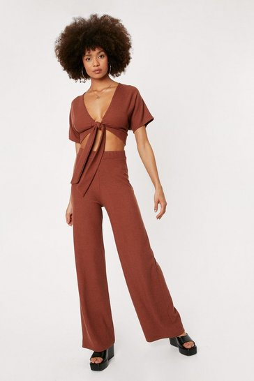 Chocolate Ribbed V Neck Tie Front Crop Top