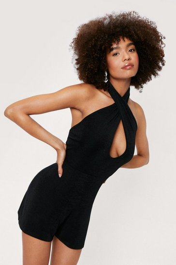 Black Slinky Halter Neck Cut Out Romper