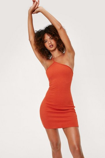Rust Ribbed Asymmetric Strappy One Shoulder Dress
