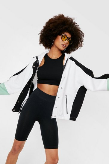 White Contrasting Oversized Bomber Hoodie Jacket