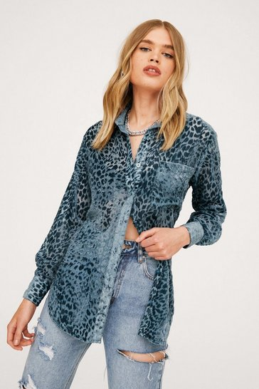 Grey Leopard Devore Oversized Pocket Front Shirt