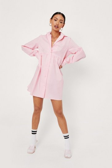 Pink Petite Long Sleeve Mini Shirt Dress