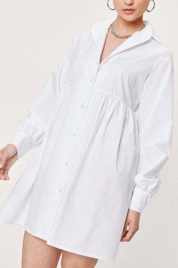 White Petite Long Sleeve Mini Shirt Dress