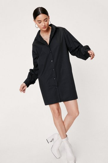 Black Petite Oversized Mini Shirt Dress