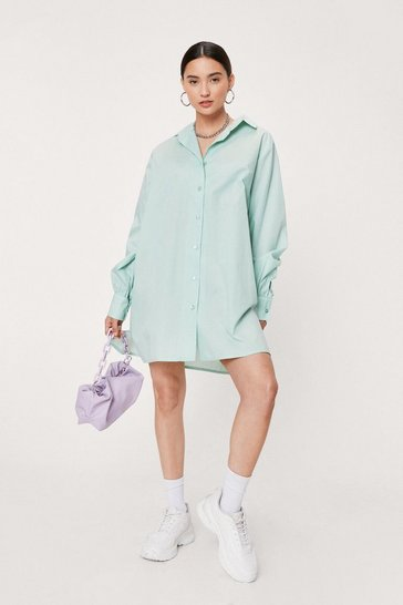 Mint Petite Oversized Mini Shirt Dress