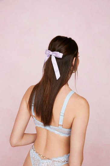 Lilac Oversized Satin Bow Hair Clip