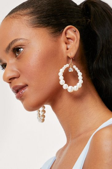White Pearl Diamante Drop Earrings and Pouch