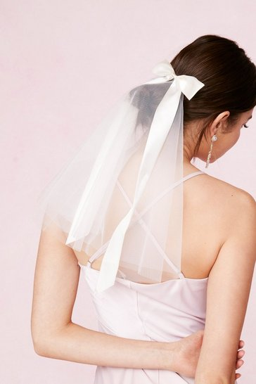 White Bridal Satin Bow Hair Clip and Veil