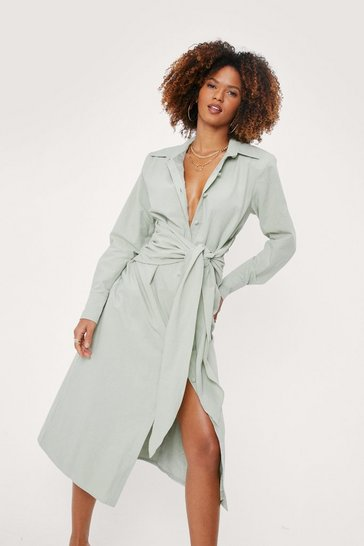 Mint Linen Look Tie Front Midi Shirt Dress