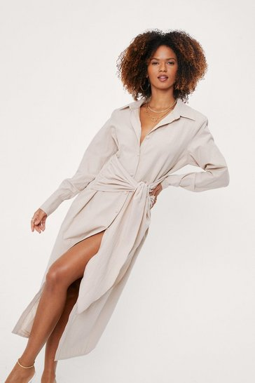Sand Linen Look Tie Front Midi Shirt Dress