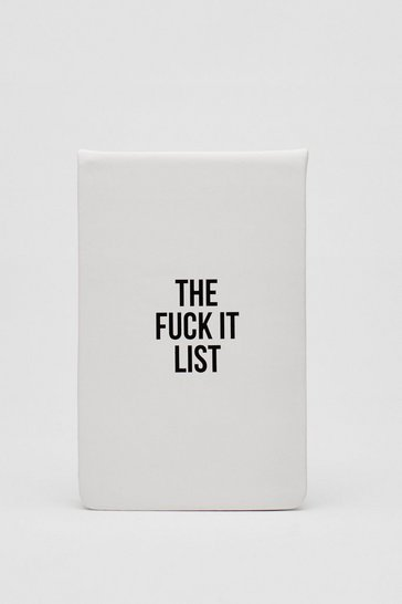 White The Fuck It List Graphic Lined Notebook