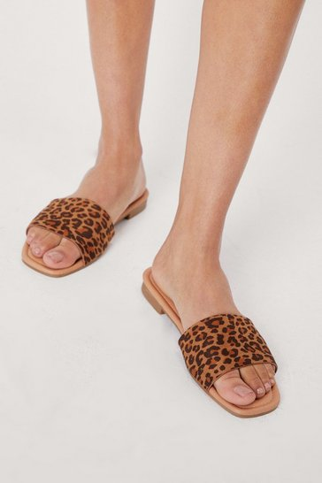 Brown Leopard Faux Suede Open Toe Flat Sandals