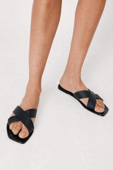 Black Faux Leather Crossover Strap Flat Sandals