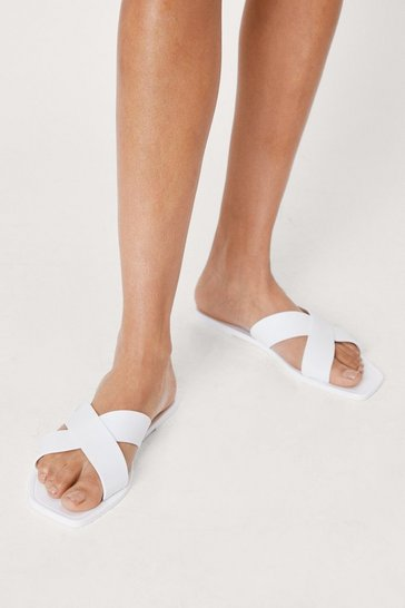 White Faux Leather Crossover Strap Flat Sandals
