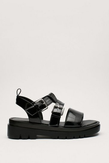 Black Faux Leather Low Block Heel Buckle Sandals
