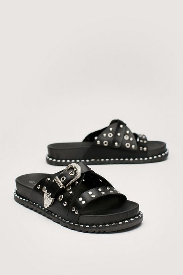 Black Faux Leather Western Studded Footbed Sandals