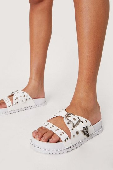 White Faux Leather Western Studded Footbed Sandals
