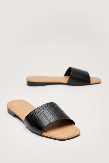 Black Croc Faux Leather Flat Sandals