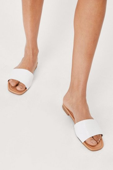 White Croc Faux Leather Flat Sandals