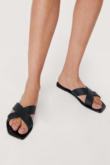 Black Wide Fit Faux Leather Crossover Sandals